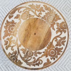 Beautiful Wood Carved Inlay Cake Stand